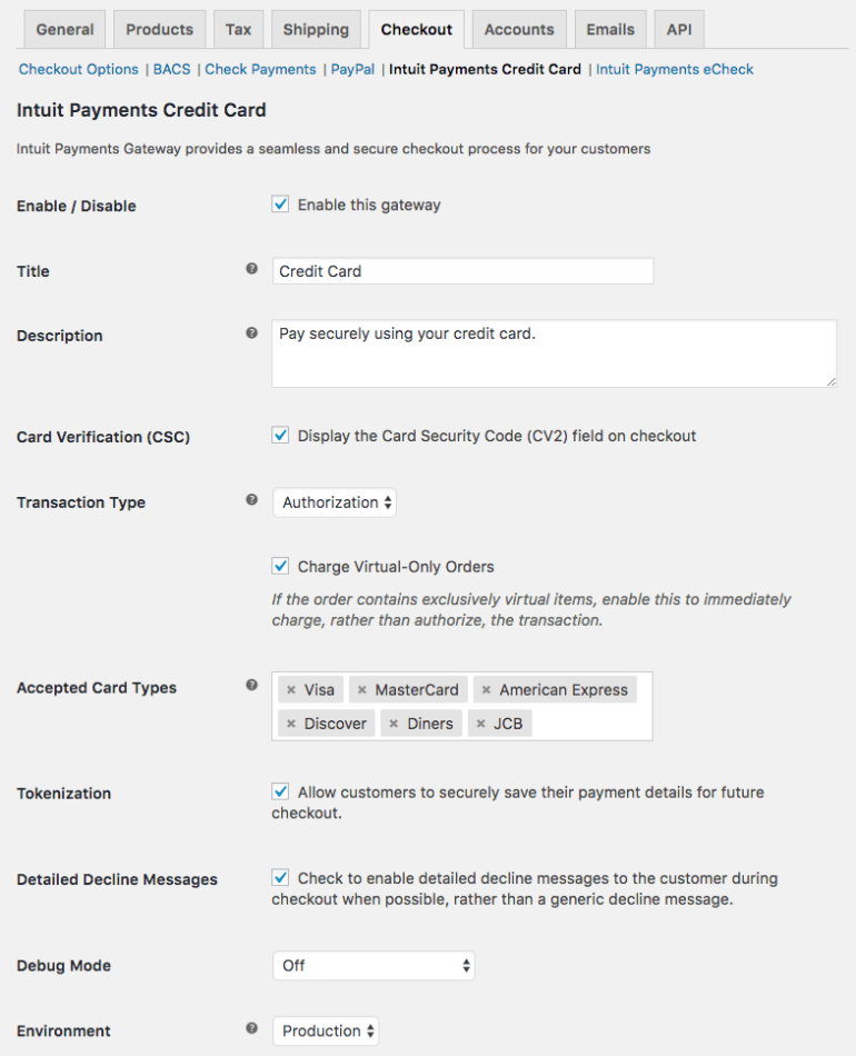 WooCommerce Intuit Payments: Settings 1