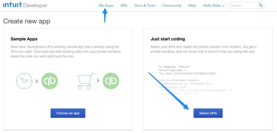 WooCommerce Intuit Payments: Connect an app, step 1