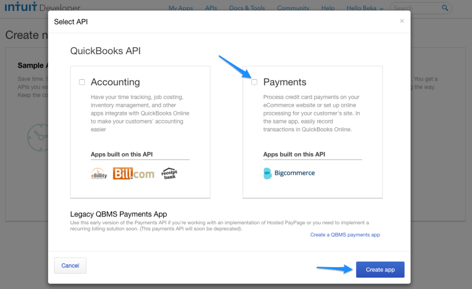 WooCommerce Intuit Payments: Connect an app, step 2