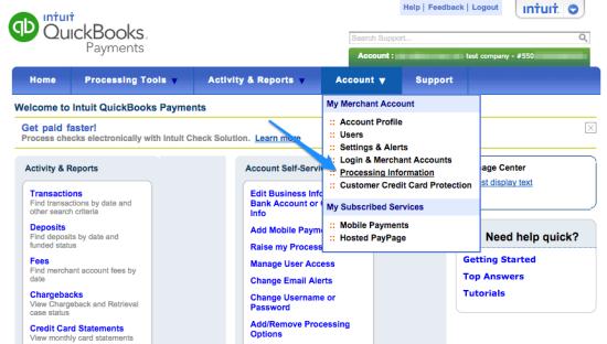 WooCommerce Intuit QBMS account information