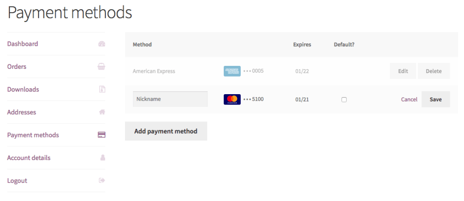 WooCommerce Intuit Payments enhanced saved payment methods