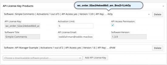 API License Key Products