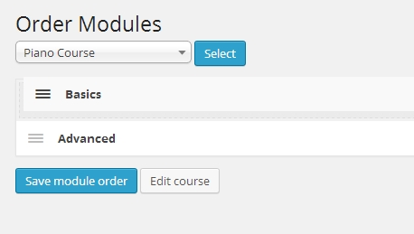 Drag and drop to reorder modules