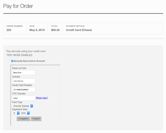 WooCommerce Chase Payment Default Pay Page