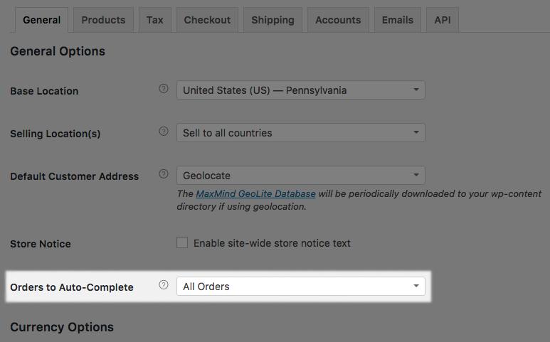 WooCommerce Order Status Control: settings