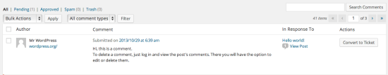 Easily convert a blog post comment into a ticket. Delivering happiness on all fronts.