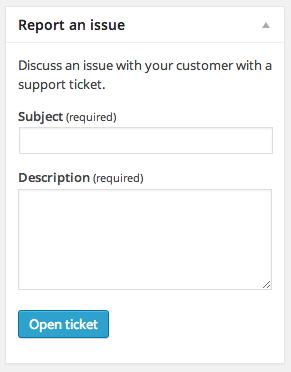 Quickly create a new ticket, relating to a specific order.