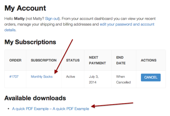 Any customer subscribing to your subscription product will now see the download links for files in the related downloadable products.