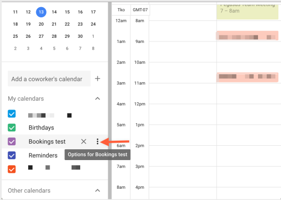 Hover over title to reveal calendar options menu