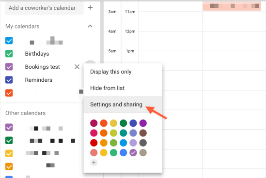 Select Settings and Sharing from the calendar Options menu