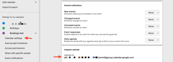 Copy the Calendar ID from the Integrate calendar section