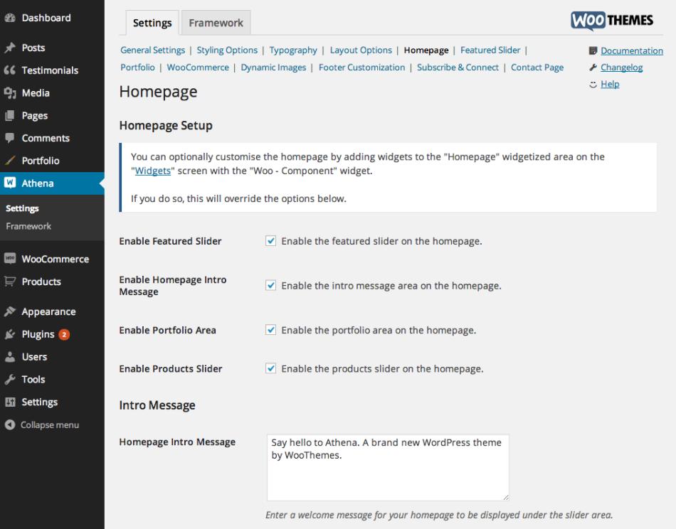 athena-homepage-settings