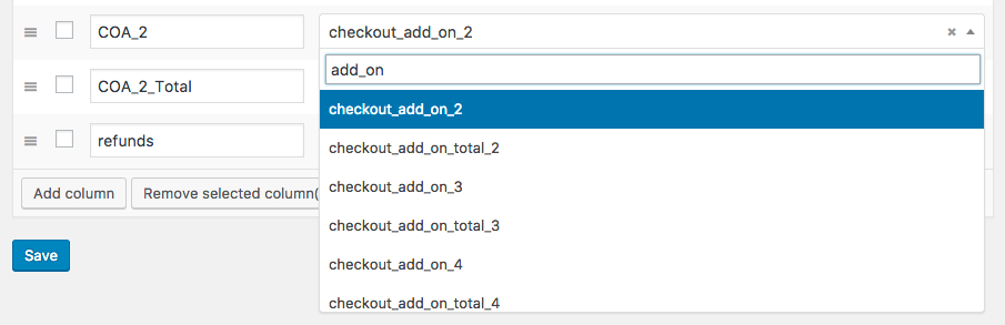 WooCommerce Checkout Add-ons: add addon to custom CSV export