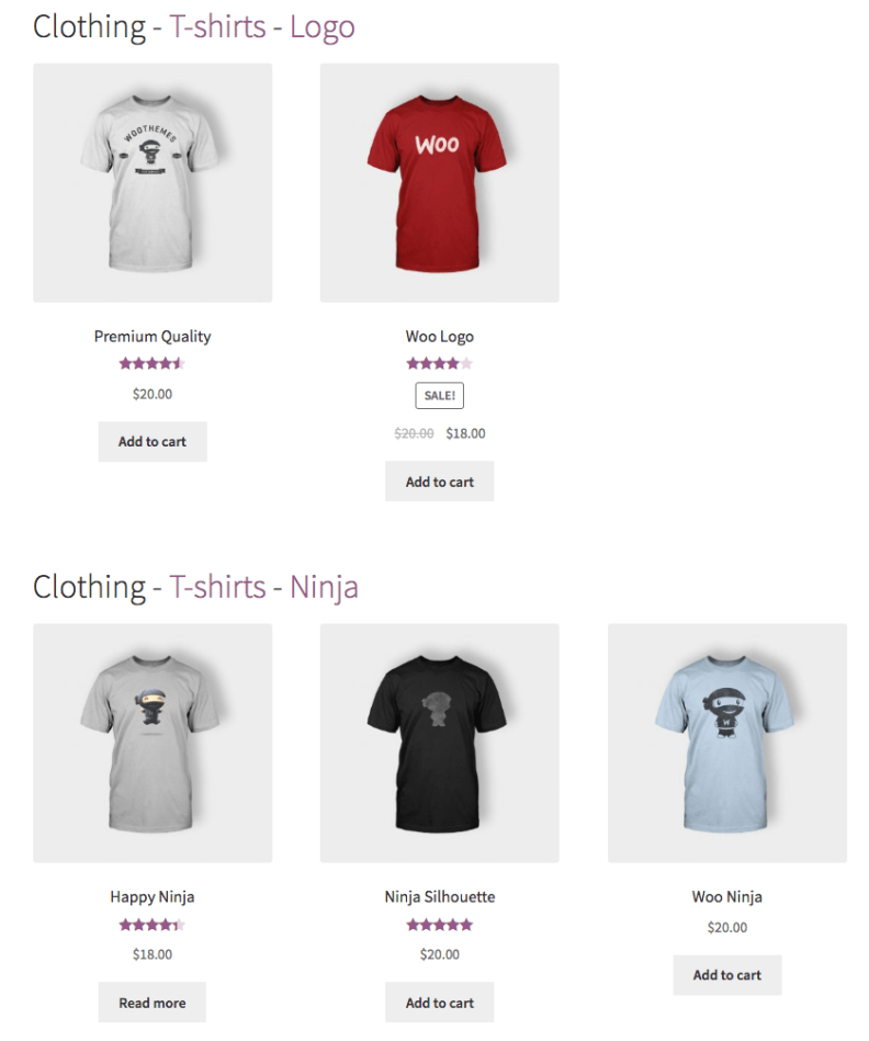 WooCommerce Nested Category Layout Multiple Nested Categories