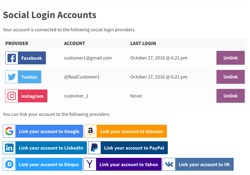 WooCommerce Social Login: Link accounts