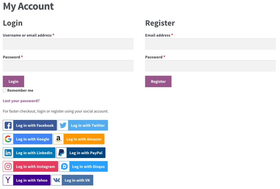 WooCommerce Social Login: registration