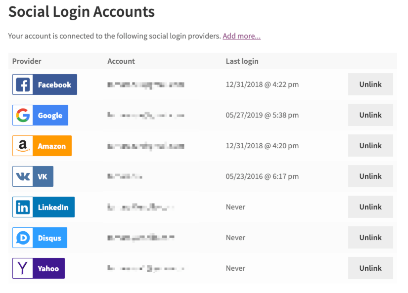 Managing Social Login accounts from the My Accounts page