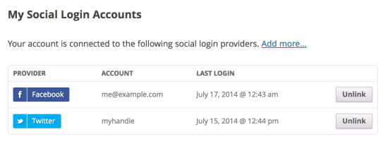 WooCommerce Social Login Connected accounts