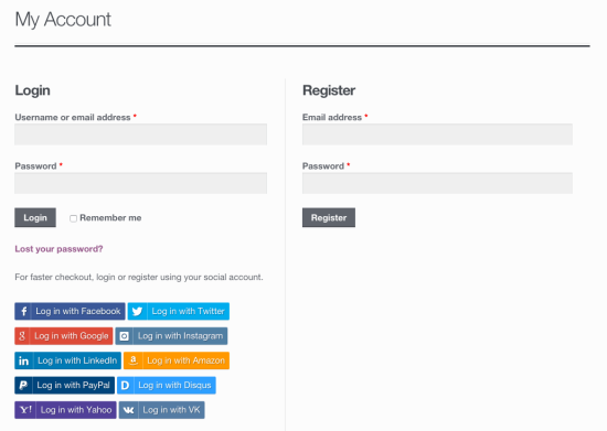 WooCommerce Social Login My Account