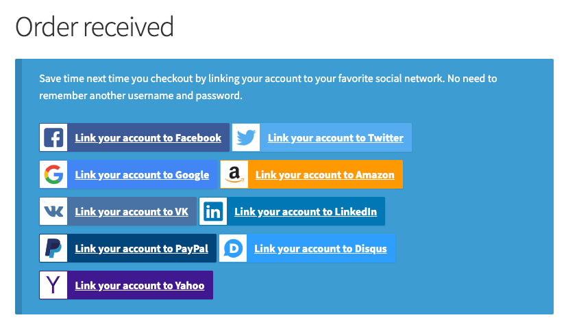 Social Login on Order Received page
