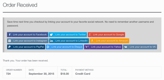 WooCommerce Social Login Order Received