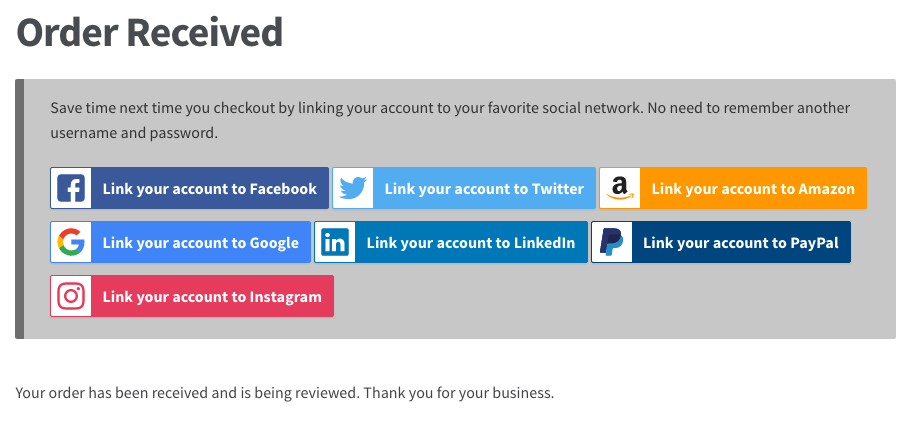 WooCommerce Social Login: Link account from order received