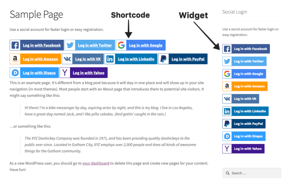 Shortcode and widget options for Social Login
