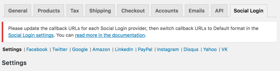 WooCommerce Social Login Update Notice
