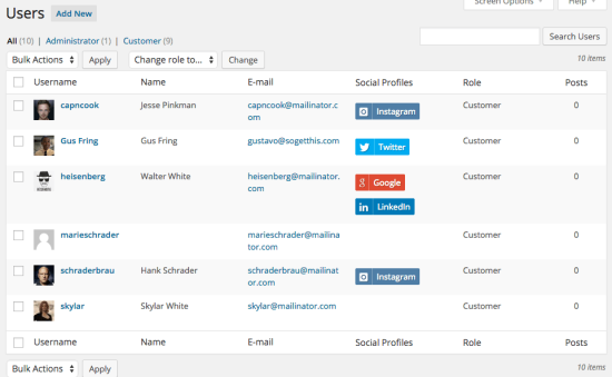 WooCommerce Social Login user list