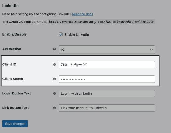 WooCommerce Social Login LinkedIn plugin settings