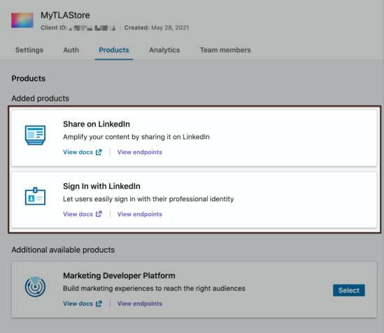 WooCommerce Social Login LinkedIn App add products