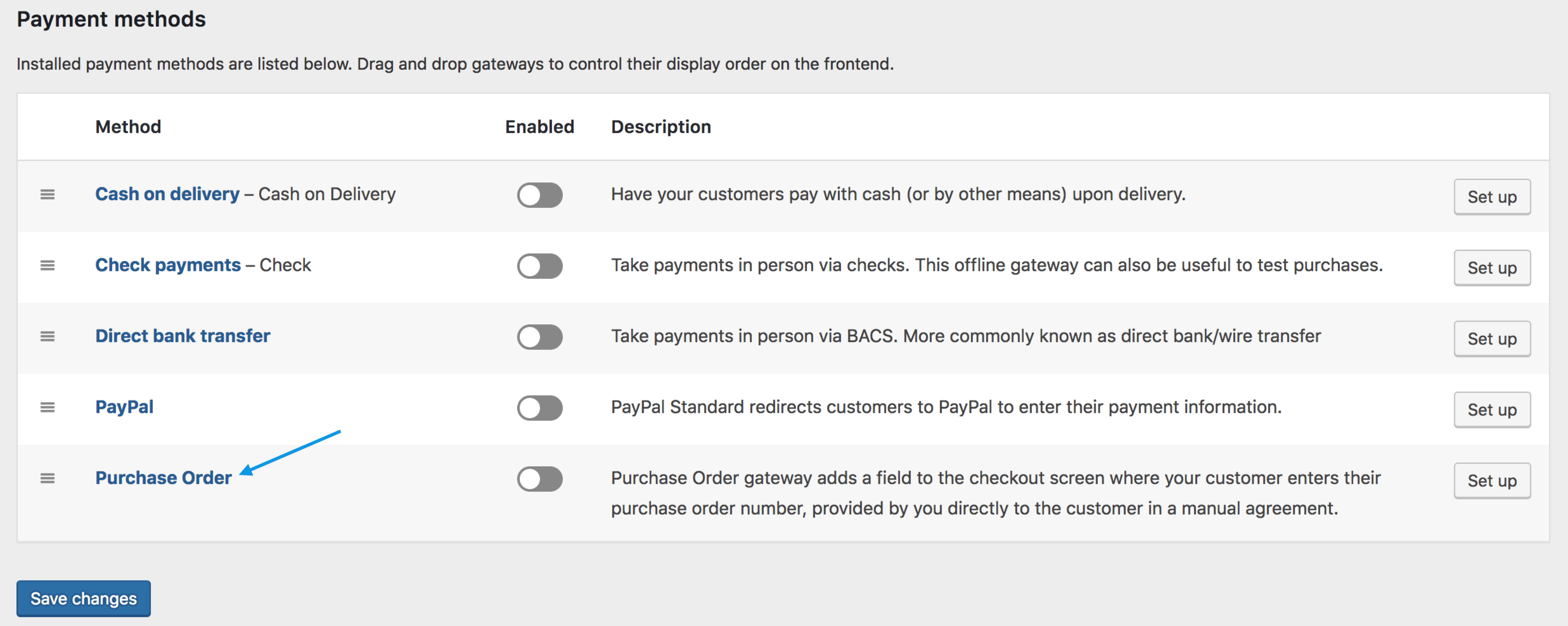 go to woocommerce settings payments note payments formerly called checkout prior to woocommerce 34 select purchase order