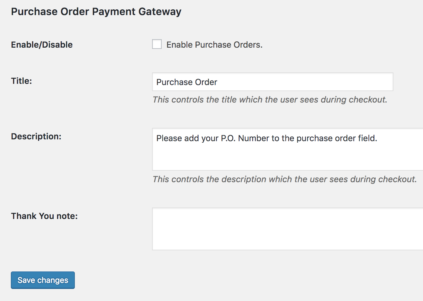 select purchase order this takes you to the settings screen