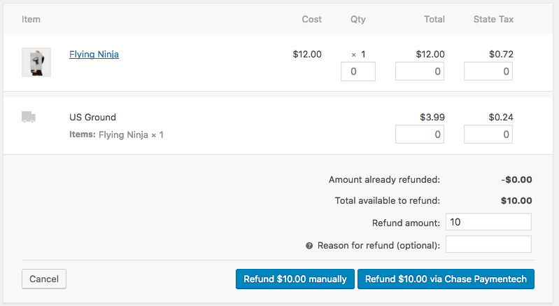 WooCommerce Chase Paymentech Test Refunds