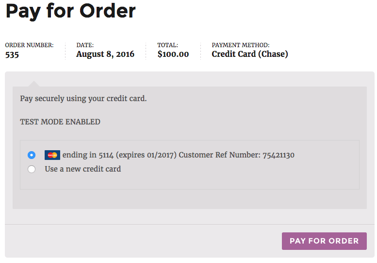 WooCommerce Chase Paymentech use saved card
