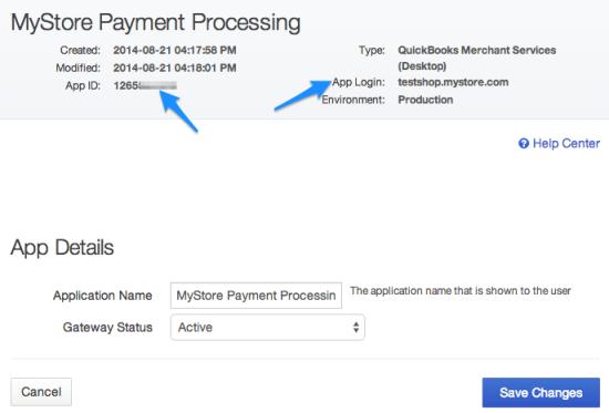 WooCommerce Intuit QBMS get app credentials