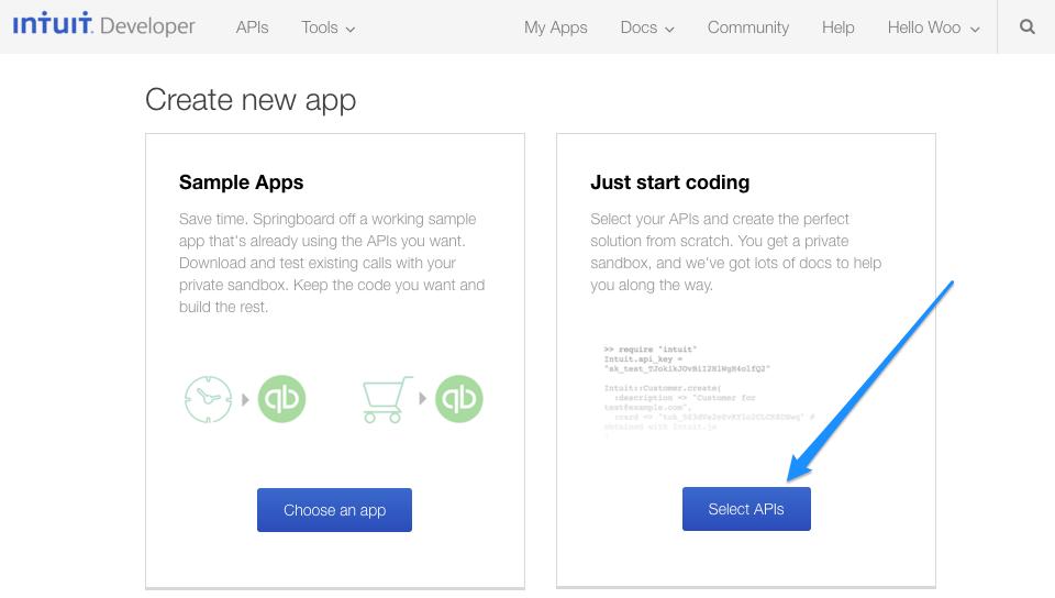 WooCommerce Intuit QBMS Create QBMS Application WooCommerce Docs