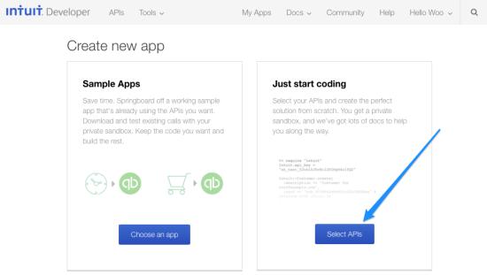WooCommerce Intuit QBMS select app type