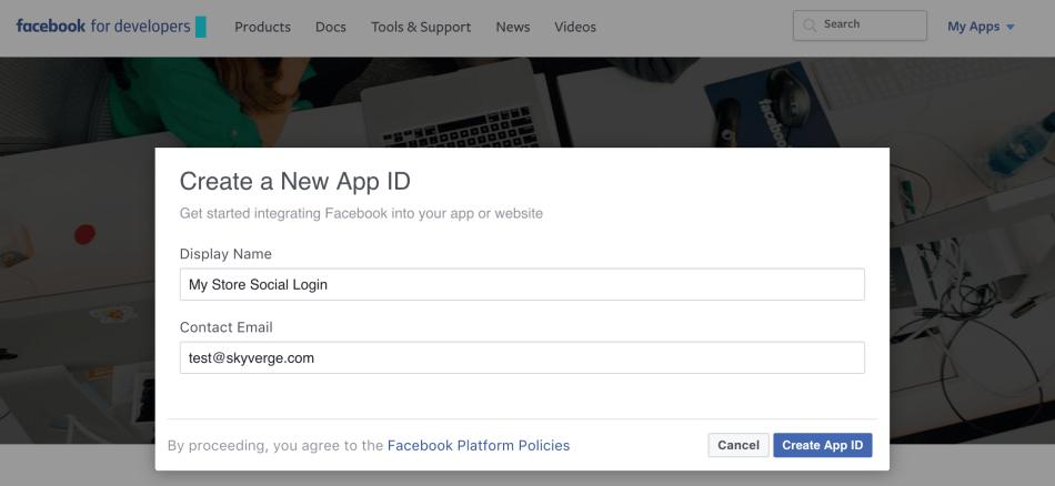 WooCommerce Social Login Facebook app, step 1