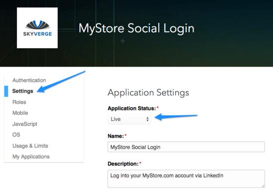 WooCommerce Social Login LinkedIn App settings