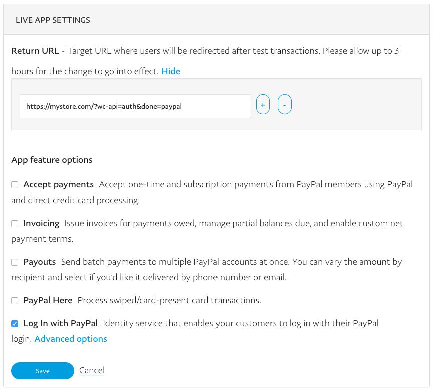 WooCommerce Social Login PayPal app settings 1