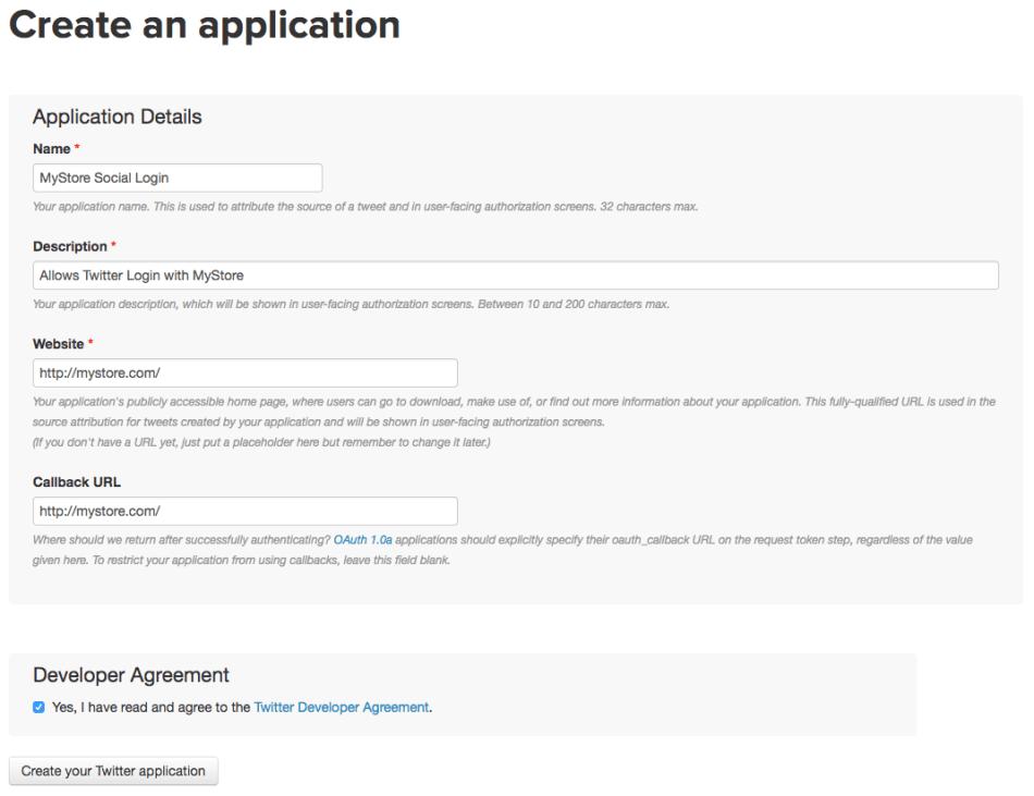 WooCommerce Social Login: new Twitter application