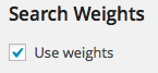 Settings - Search Weight