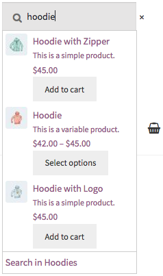 A WooCommerce Product Search live Product Search Field in action.