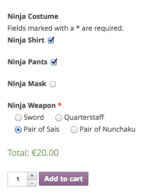 Ninja Form Product Detail Page