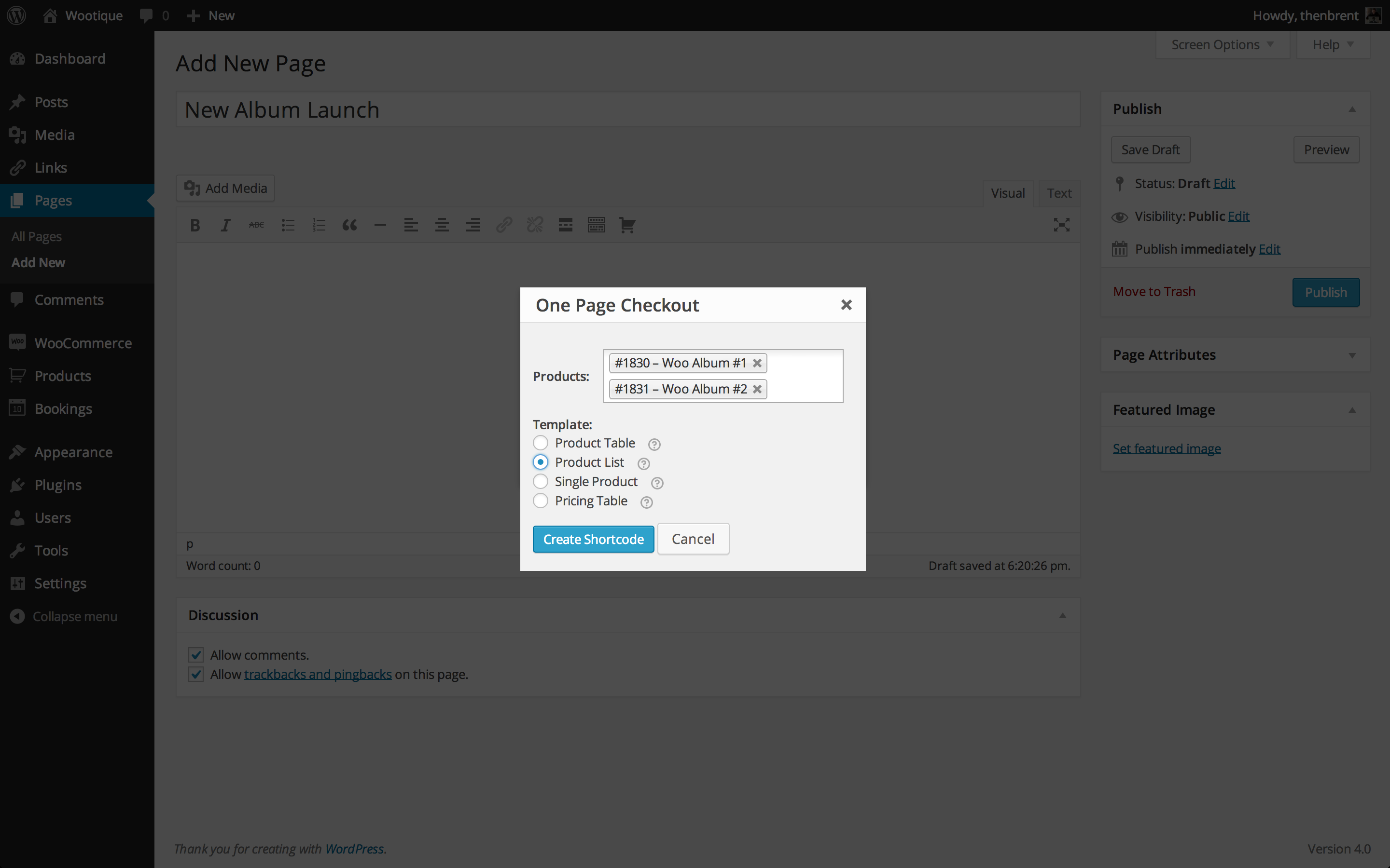 One Page Checkout Shortcode Graphical Interface
