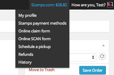Stamps.com menu item