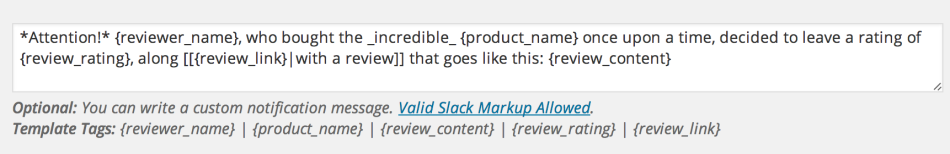 Example of a custom notification message for new reviews