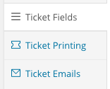 The three new tabs available for ticket products