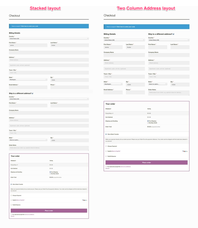 Stacked and Two column checkout layouts using the full width page template.